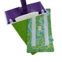 3 Reusable Wet Jet Swifter pads - Paisley Green pattern with Green Terry Cloth